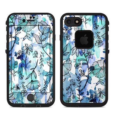 Lifeproof iPhone 7-8 Fre Case Skin - Blue Ink Floral