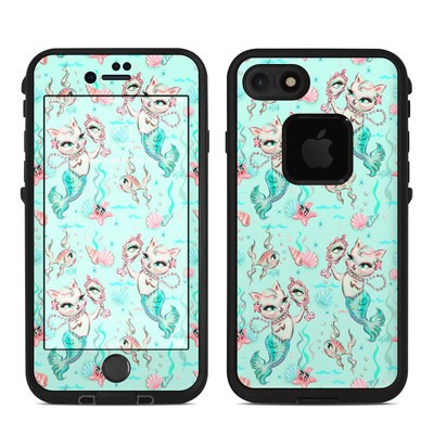 Lifeproof iPhone 7-8 Fre Case Skin - Merkittens with Pearls Aqua