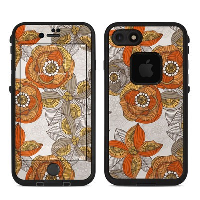 Lifeproof iPhone 7 Fre Case Skin - Orange and Grey Flowers