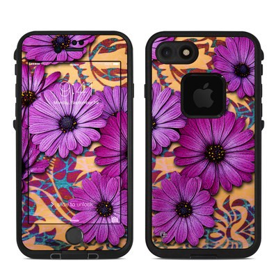 Lifeproof iPhone 7 Fre Case Skin - Purple Daisy Damask