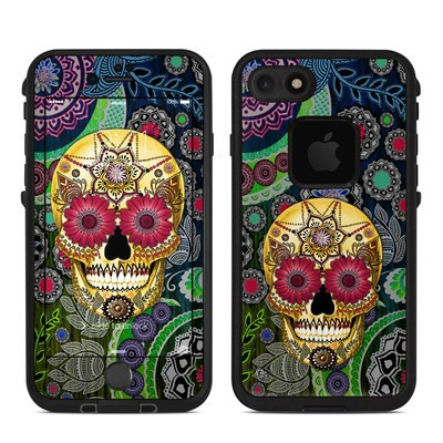 Lifeproof iPhone 7 Fre Case Skin - Sugar Skull Paisley