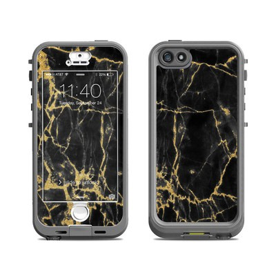 Lifeproof iPhone 5S Nuud Case Skin - Black Gold Marble
