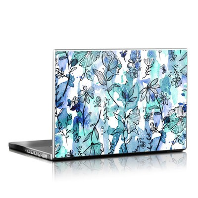 Laptop Skin - Blue Ink Floral