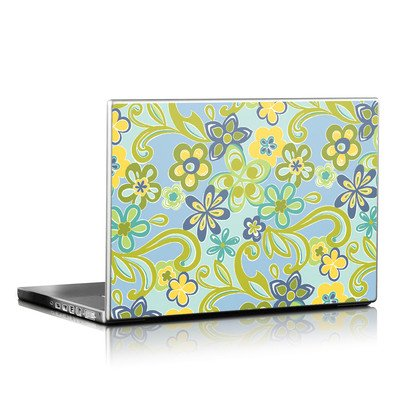 Laptop Skin - Hippie Flowers Blue