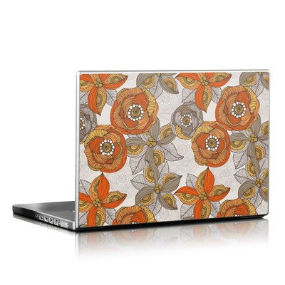 Laptop Skin - Orange and Grey Flowers