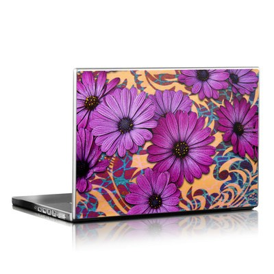 Laptop Skin - Purple Daisy Damask