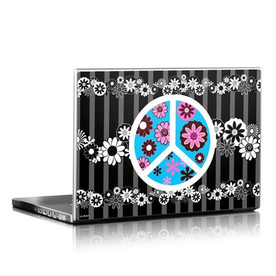 Laptop Skin - Peace Flowers Black