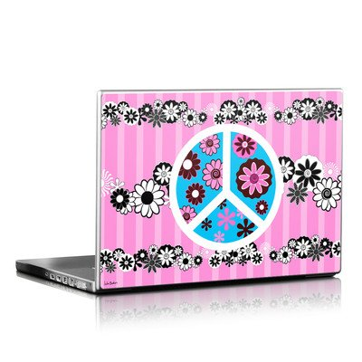 Laptop Skin - Peace Flowers Pink