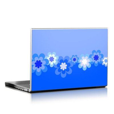 Laptop Skin - Retro Blue Flowers