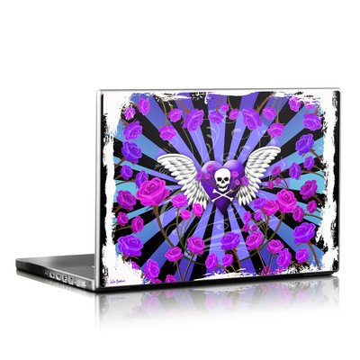 Laptop Skin - Skull & Roses Purple