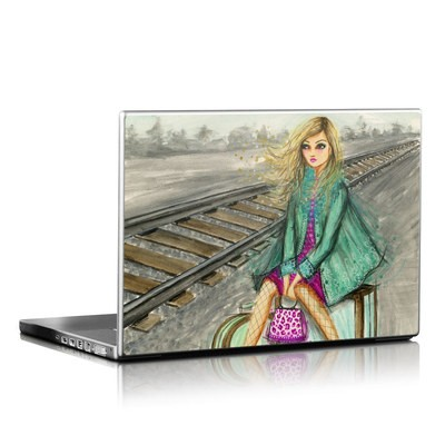 Laptop Skin - Lulu Waiting by the Train Tracks