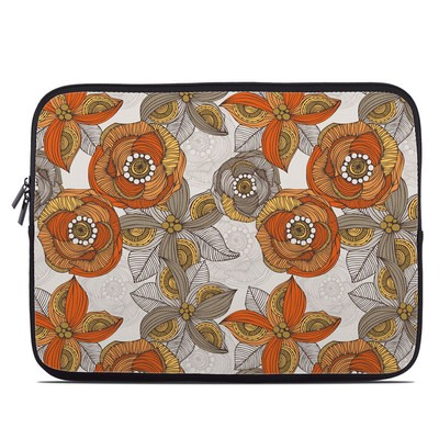 Laptop Sleeve - Orange and Grey Flowers