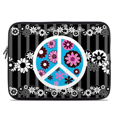 Laptop Sleeve - Peace Flowers Black