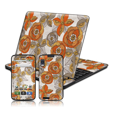 Motorola Atrix 4G Skin - Orange and Grey Flowers