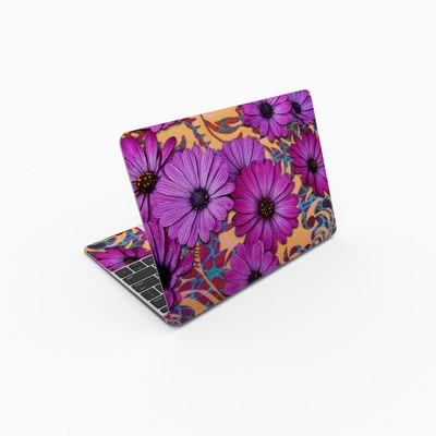 MacBook 12in Skin - Purple Daisy Damask