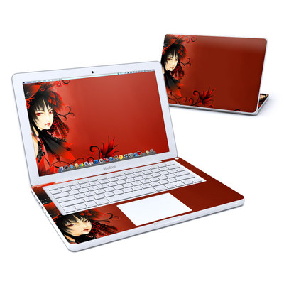 MacBook 13in Skin - Black Flower