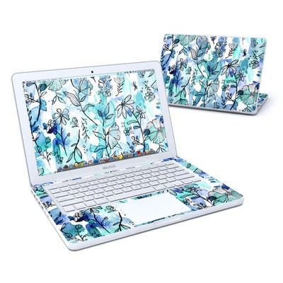 MacBook 13in Skin - Blue Ink Floral