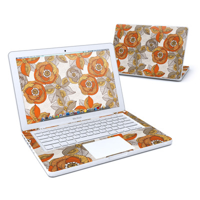 MacBook 13in Skin - Orange and Grey Flowers