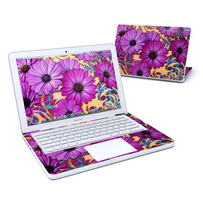 MacBook 13in Skin - Purple Daisy Damask