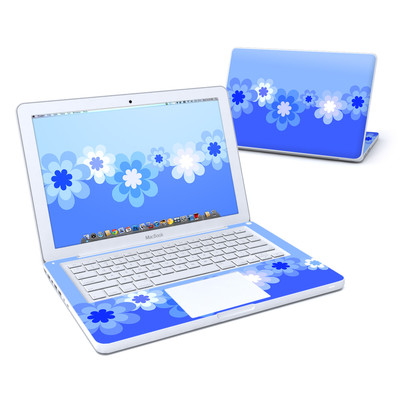 MacBook 13in Skin - Retro Blue Flowers