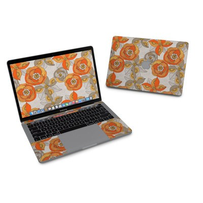 MacBook Pro 13in (2016) Skin - Orange and Grey Flowers