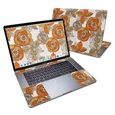 MacBook Pro 15in (2016) Skin - Orange and Grey Flowers