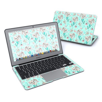 MacBook Air 11in Skin - Merkittens with Pearls Aqua