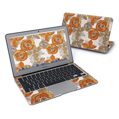 MacBook Air 11in Skin - Orange and Grey Flowers