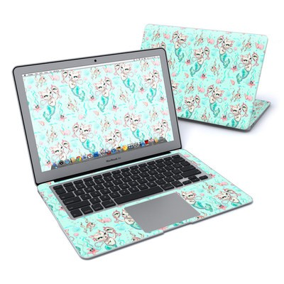MacBook Air 13in Skin - Merkittens with Pearls Aqua