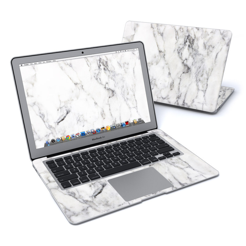 macbook air 13in skin white marble by marble collection decalgirl. Black Bedroom Furniture Sets. Home Design Ideas