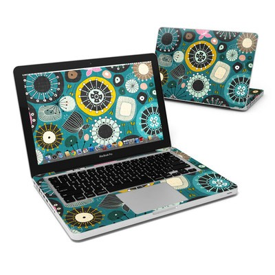 MacBook Pro 13in Skin - Blooms Teal