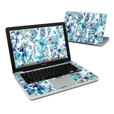 MacBook Pro 13in Skin - Blue Ink Floral