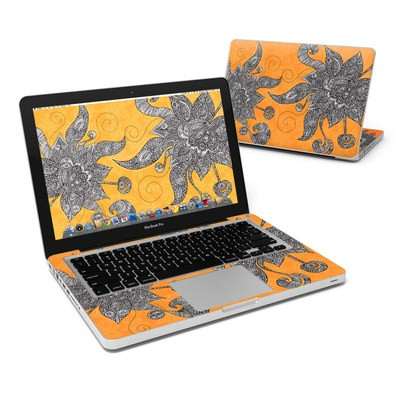 MacBook Pro 13in Skin - Orange Flowers