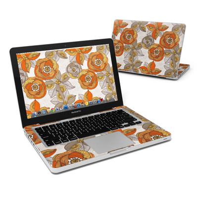 MacBook Pro 13in Skin - Orange and Grey Flowers