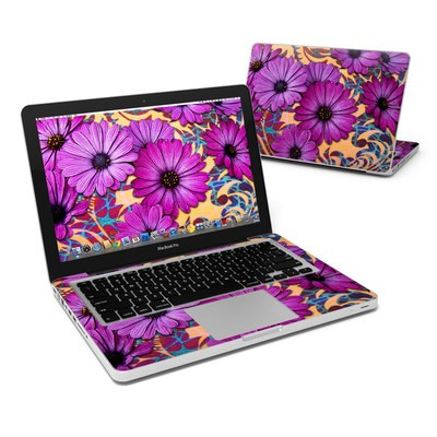 MacBook Pro 13in Skin - Purple Daisy Damask