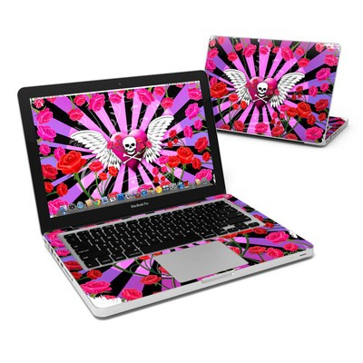 MacBook Pro 13in Skin - Skull & Roses Pink