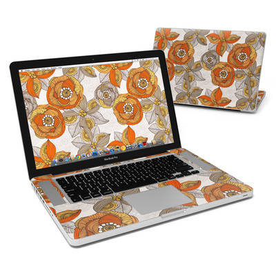 MacBook Pro 15in Skin - Orange and Grey Flowers