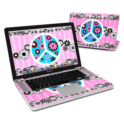 MacBook Pro 15in Skin - Peace Flowers Pink