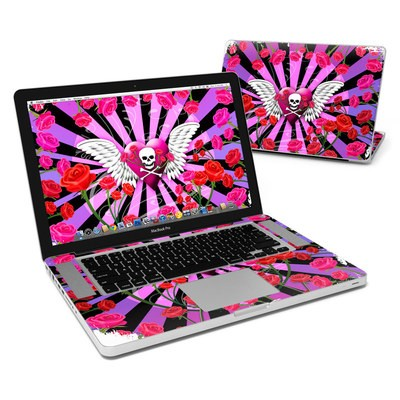 MacBook Pro 15in Skin - Skull & Roses Pink