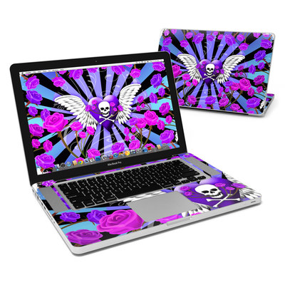 MacBook Pro 15in Skin - Skull & Roses Purple