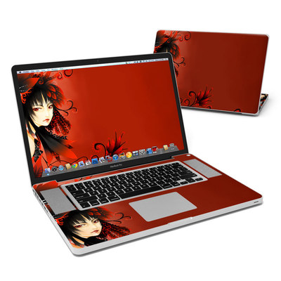 MacBook Pro 17in Skin - Black Flower