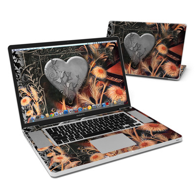 MacBook Pro 17in Skin - Black Lace Flower