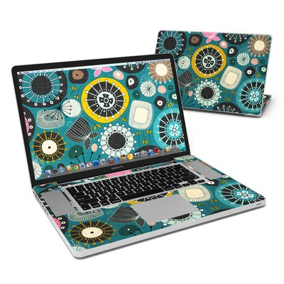 MacBook Pro 17in Skin - Blooms Teal