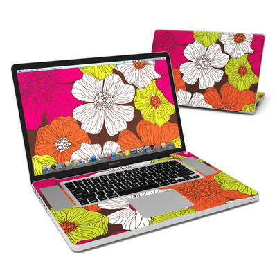 MacBook Pro 17in Skin - Brown Flowers