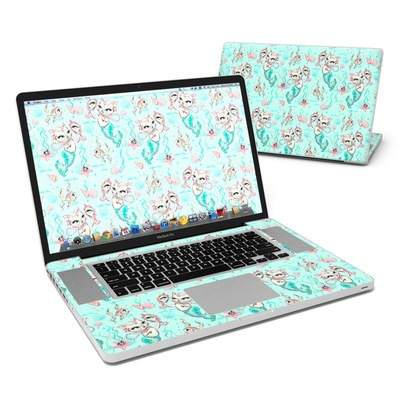 MacBook Pro 17in Skin - Merkittens with Pearls Aqua