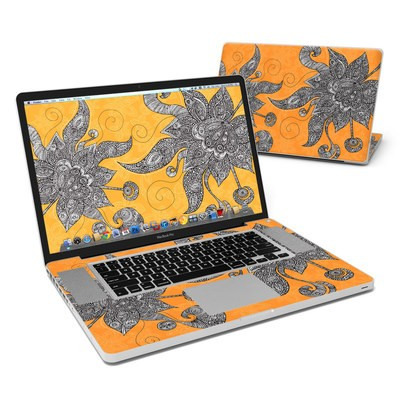 MacBook Pro 17in Skin - Orange Flowers