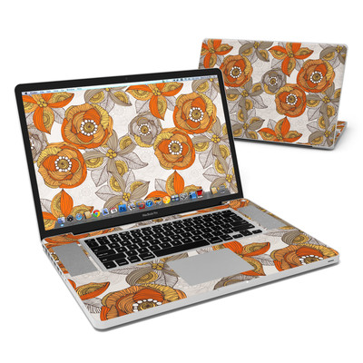 MacBook Pro 17in Skin - Orange and Grey Flowers