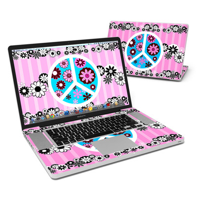 MacBook Pro 17in Skin - Peace Flowers Pink