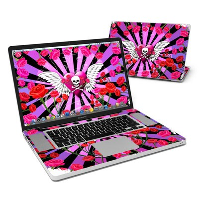 MacBook Pro 17in Skin - Skull & Roses Pink