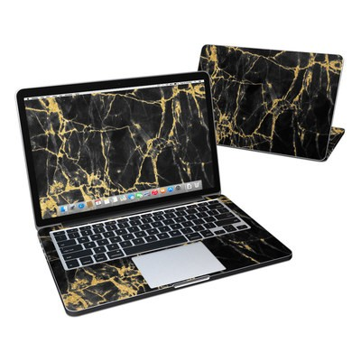 MacBook Pro Retina 13in Skin - Black Gold Marble